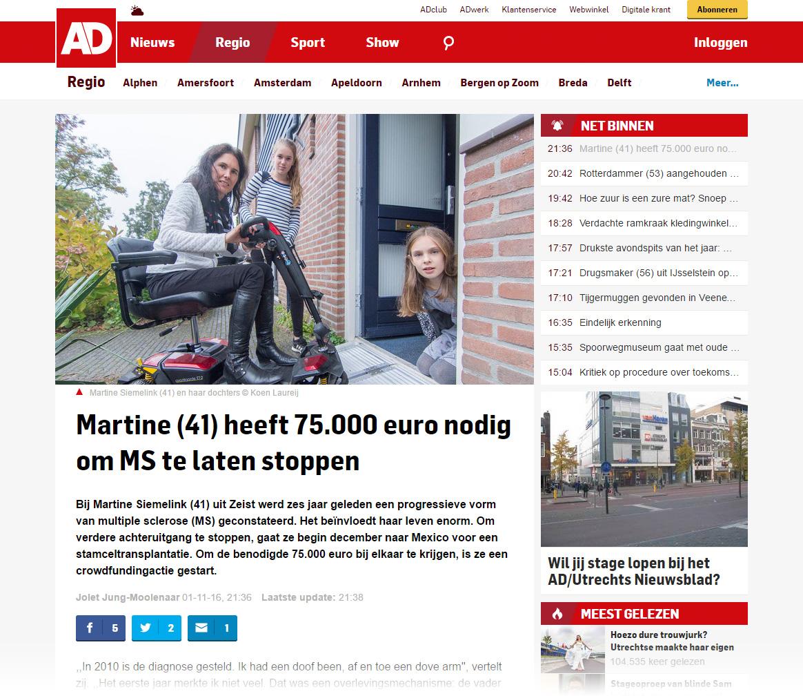 Artikel op AD.nl