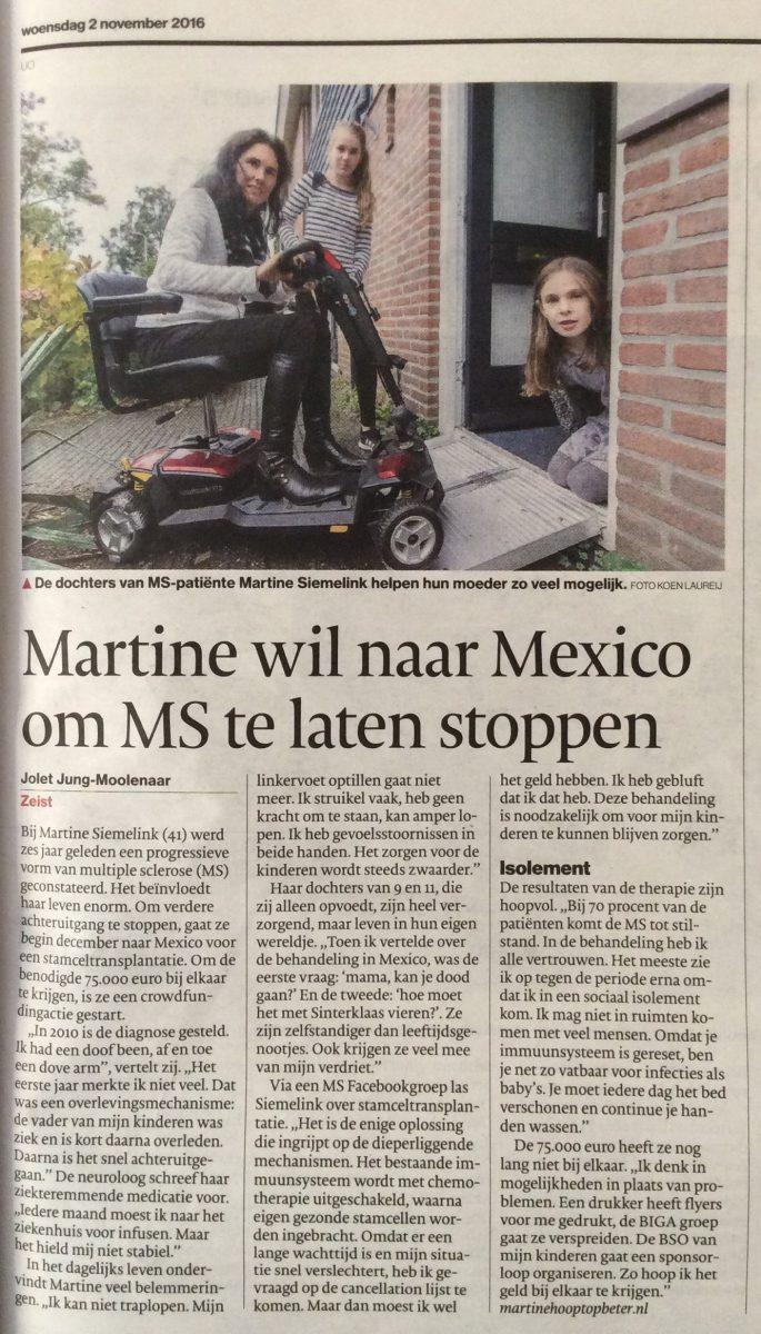 Artikel in AD Utrechts Nieuwsblad